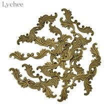 Litchee-estampage en forme de feuille de laiton   Embellissements de Scrapbooking, décoration artisanale faite à la main, bricolage, 20 pièces