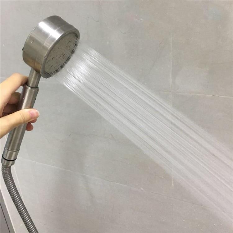 رأس دش يدوي من الفولاذ المقاوم للصدأ 304 ، طقم دش قوي مع خرطوم 1.5 متر وحامل ، ملحقات حمام عالية الجودة