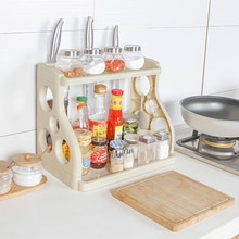 050 Multifunctional Household kitchen double shelf rack, condiment cutter storage rack kitchen storage shelf 40*24.5*31.5cm