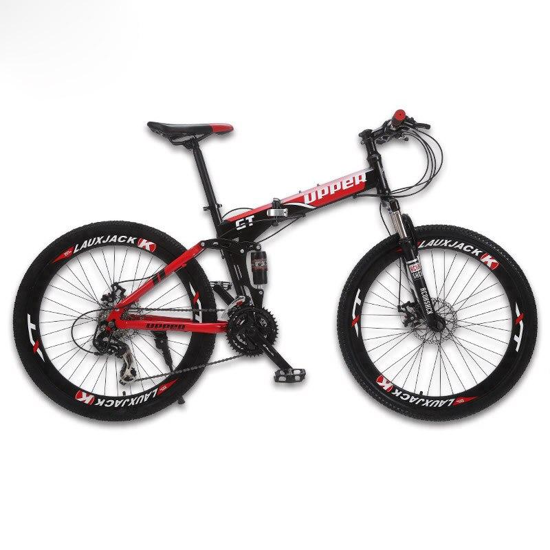 GT-UPPER bicicleta de montaña SUSPENSIÓN COMPLETA marco plegable de acero 24 velocidades Shimano rueda de freno mecánico con radios