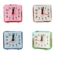 Stijlvolle Kleine Bed Wekker Transparante Case Compact Reizen Klok Mini Mute Kinderen Student Bureau Horloge