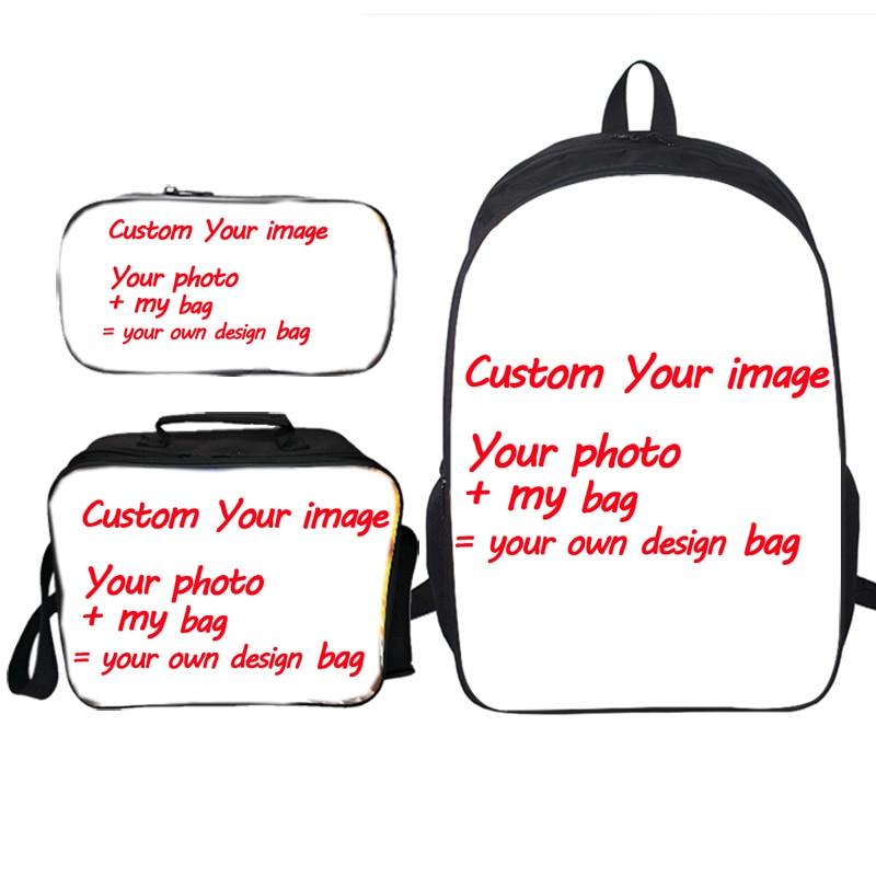 انخفاض الشحن الطلاب تخصيص صورتك مخصص نمط حقيبة الظهر حقيبة مدرسية 3 قطعة/المجموعة على ظهره حقيبة الغداء مقلمة