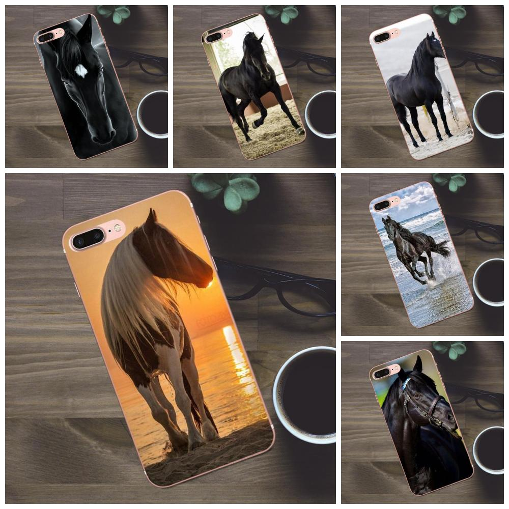 Bixedx suave funda de móvil TPU para Apple iPhone 4 4S 5 5C SE 6 6S 7 8 Plus X Galaxy A3 A5 J1 J2 J3 J5 J7 2017 el caballo negro Animal