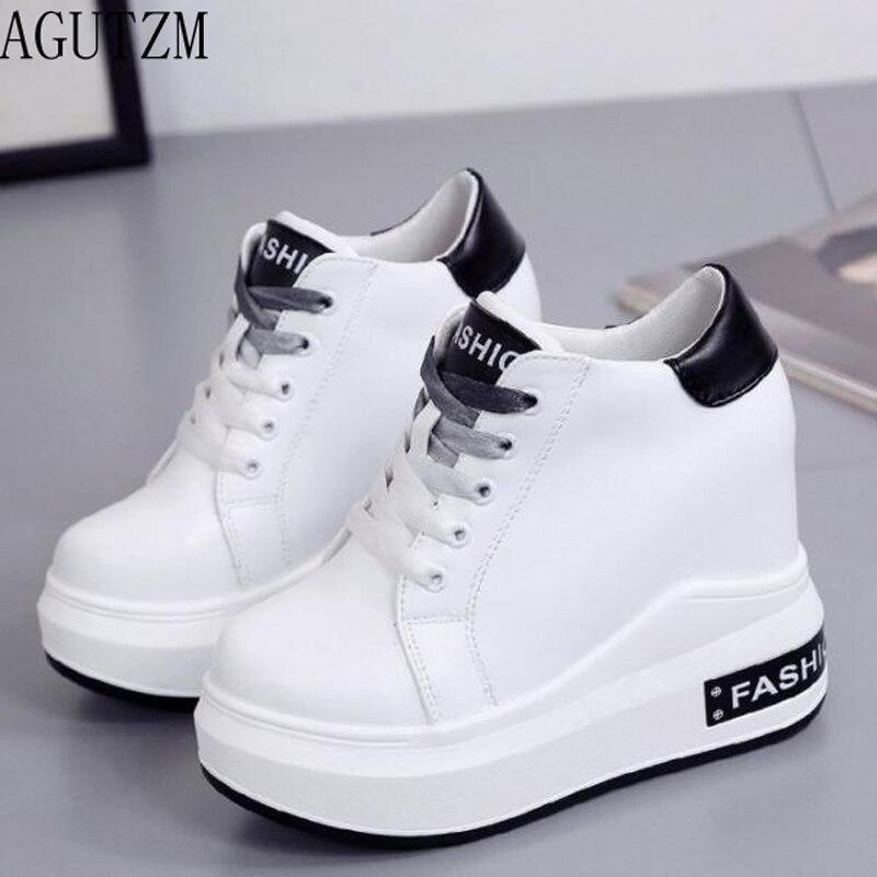 AGUTZM 2018 primavera otoño nueva moda coreana sólida cabeza redonda plana de alta calidad zapatos de mujer de suela gruesa cordones zapatos casuales V697