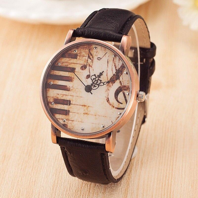 Модные женские кварцевые наручные часы, винтажные часы с кожаным ремешком и клавишами пианино, повседневные женские часы под платье, 2017