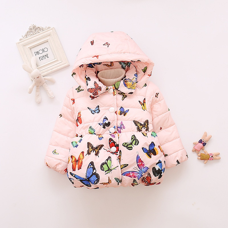 2018 new girls clothes winter warm down coat girls fashion print butterfly pattern cotton clothes