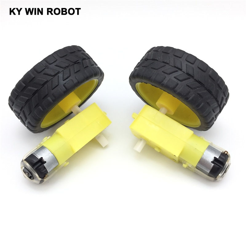 Free shiping !!! 2Lot/package Deceleration DC motor + supporting wheels smart car chassis, motor / robot car wheels for arduino