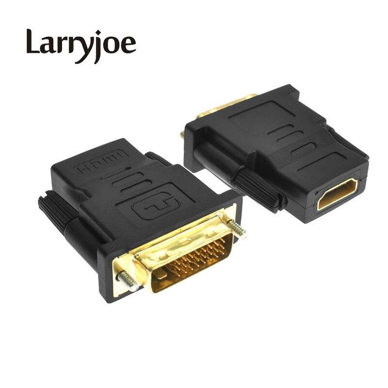 Larryjoe chapados en oro DVI 24 + 1 Convertir HDMI adaptador macho a hembra convertidor cable Cabo para LCD HDTV