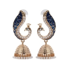 Новая мода ретро Индийский Болливуд Kundan Павлин Jhumka Jhumki Висячие серьги цыганские украшения ювелирные аксессуары красота
