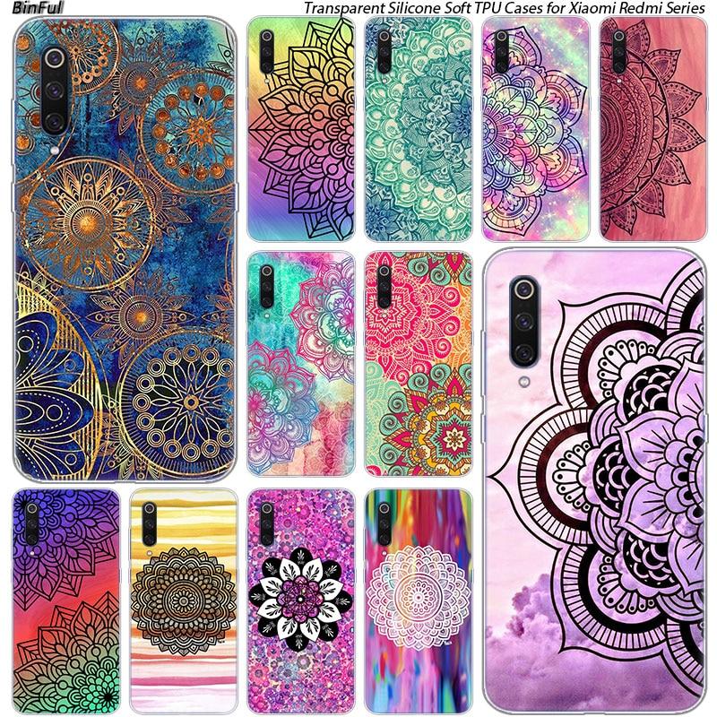 Hot Colorful mandala Silicone Case For Xiaomi Pocophone F1 9T 9 9SE 8 A2 Lite A1 A2 Mix3 Redmi K20 7A Note 4 4X 5 6 7 Pro S2