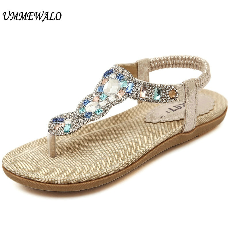 Sandalias UMMEWALO de verano para Mujer, chanclas con tiras en T, Sandalias planas tipo chancletas, sandalias de gladiador con diamantes de imitación para Mujer