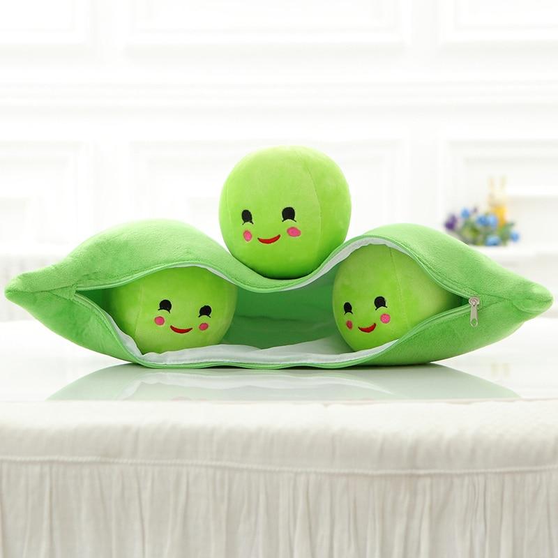 Super 60 cm, lindos pequeños Guisantes, juguetes de peluche suaves, 3 en una vaina, almohada de plantas de guisante, juguetes de peluche suaves para niños, juguetes de regalo