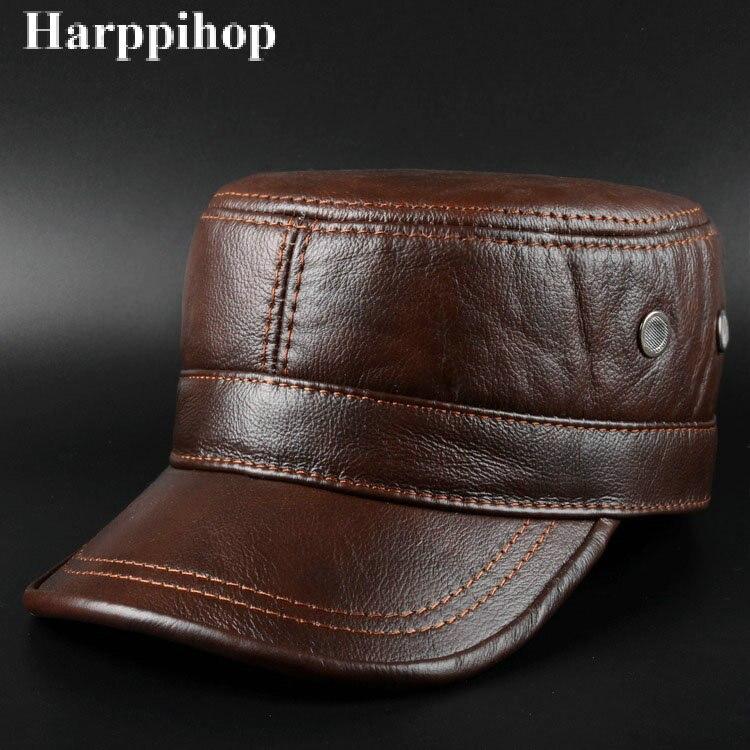 Зимняя теплая шляпа мужская Кепка из натуральной кожи 2019