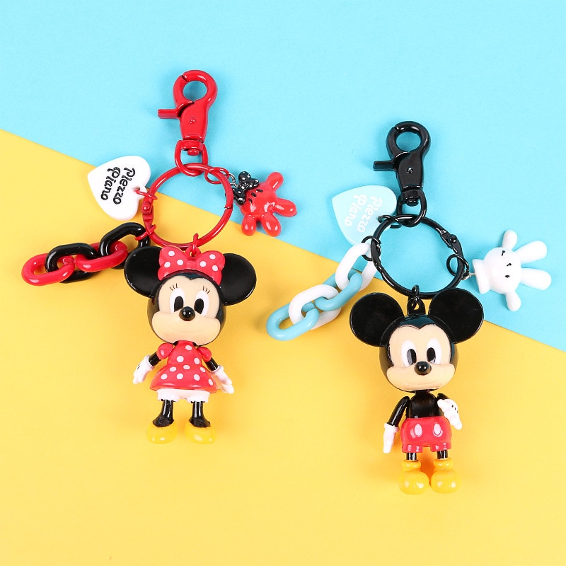 Mickey Minnie mignon dessin animé Figure porte-clés Mini Anime porte-clés enfant pendentif à breloque porte-clés clé mode fille porte-clés
