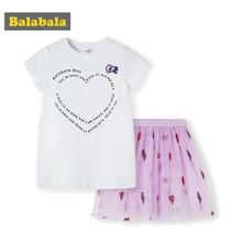 BalabalaChildren/комплект одежды для девочек, летние костюмы, новинка 2019, Детская футболка с короткими рукавами + юбка, одежда для малышей