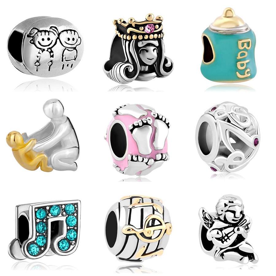 Abalorio deslizante, envío gratis, cuentas DIY, abalorio musical para niños, compatible con collar de pulsera Pandora