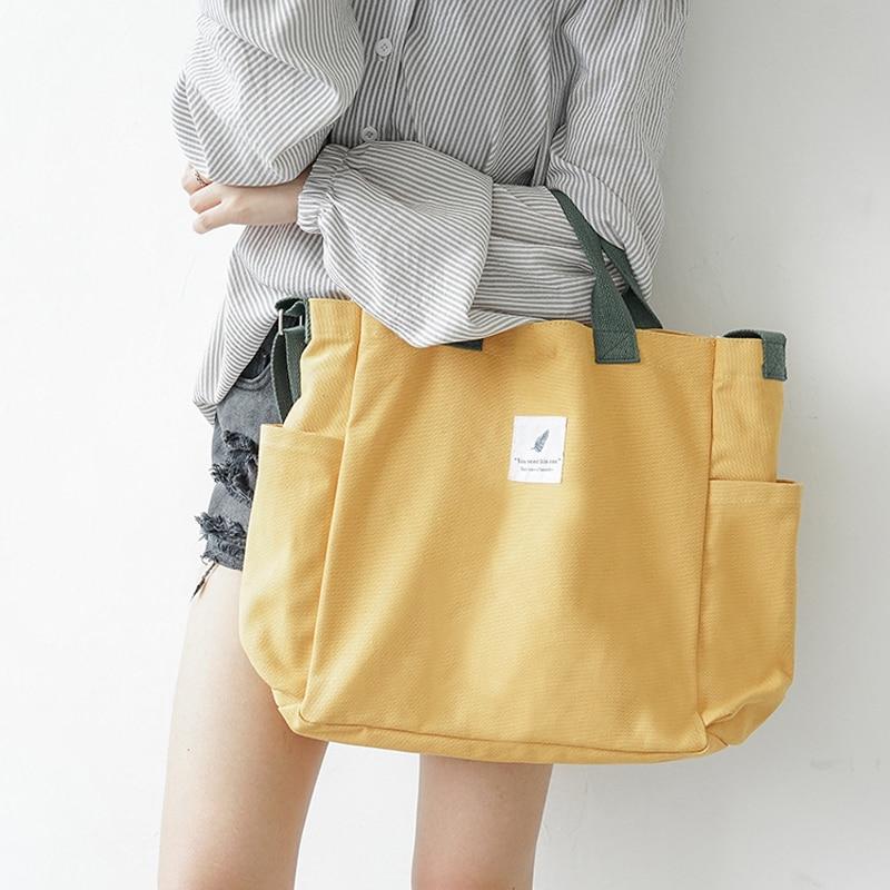 2019 New Canvas Shoulder Bags Environmental Shopping Bag Tote Package Crossbody Bags Purses Casual Handbag For Women