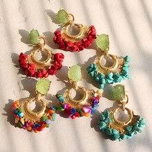 Natural Stone Drop Earrings for Women Red/blue/multicolor Resin Earring Summer Beach Earrings Party Wedding Jewelry 2019