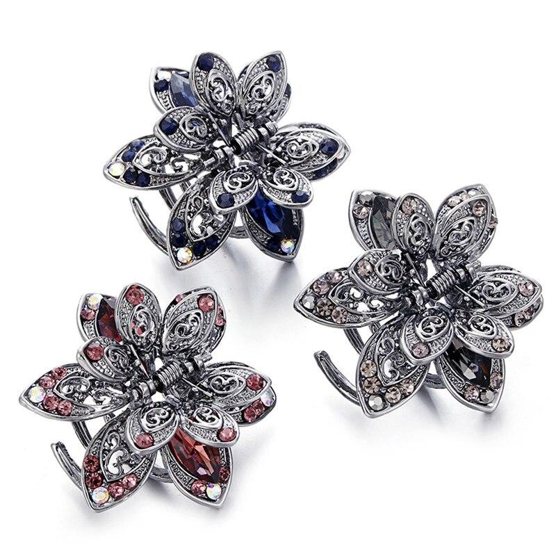 Retro Mini mariposa pinza para cabello de flores Clip diadema para las niñas y las mujeres dama horquilla cristal horquillas de abrazadera
