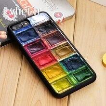 LvheCn 팔레트 페인트 트레이 물 색상 전화 케이스 커버 For iPhone 5 6s 7 8 plus 11 pro X XR XS max 삼성 S7 edge S9 S10