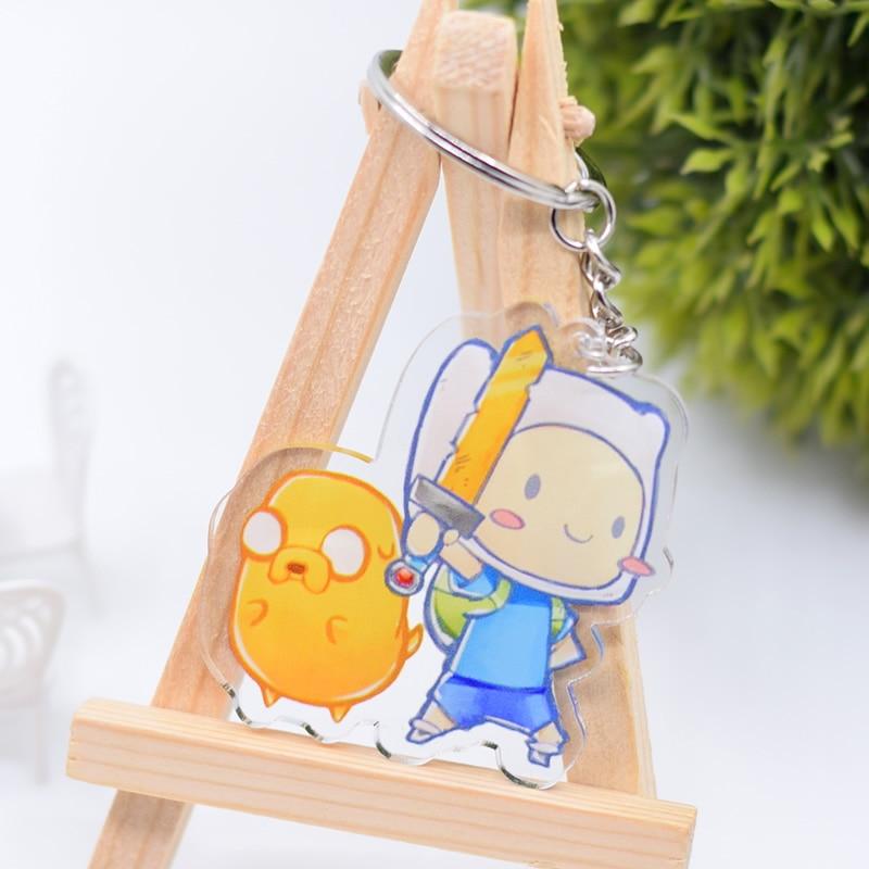 LLavero de Finn y Jake, colgante de llavero acrílico de doble cara para Adventure Time, accesorios de Anime, llavero de dibujos animados DBS1P
