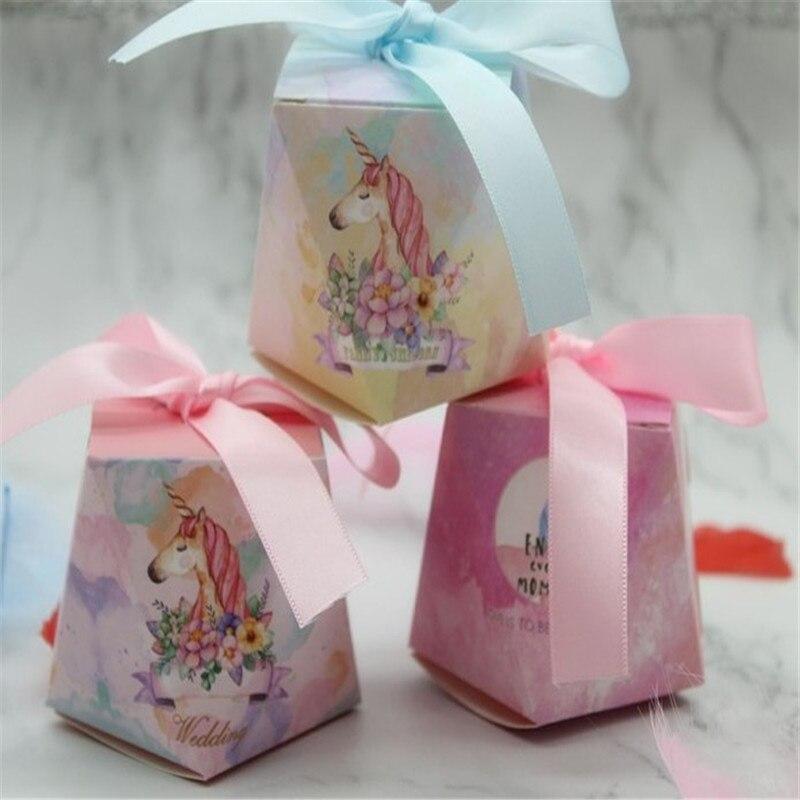 10 Uds flamenco/unicornio/ciervo golosinas cajas Feliz cumpleaños Baby Shower decoraciones fiesta unicornio regalos caja de suministros para fiesta. JW
