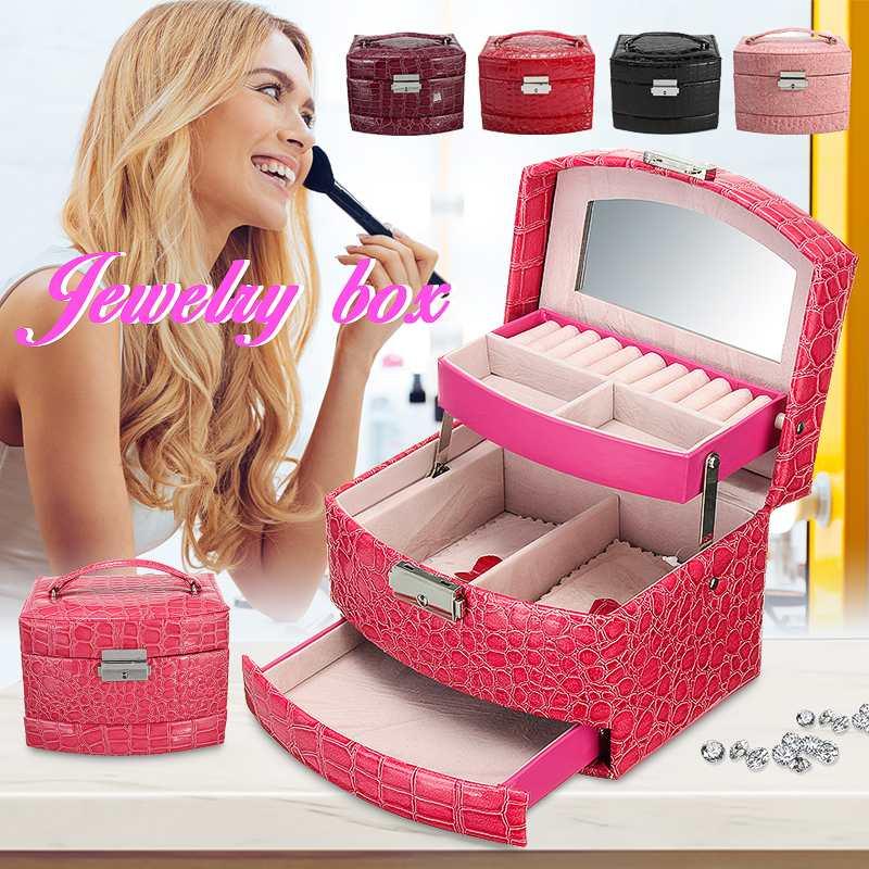 Caja de joyería de cuero organizador de almacenamiento collar pulsera pendiente caja de regalo