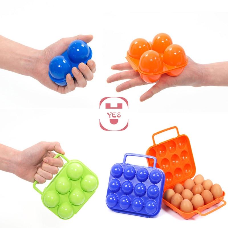 Portacontenedores para huevos al aire libre portabebés caja de almacenamiento de huevos senderismo Camping portador Picnic 2/4/6/12 rejillas plegables de plástico