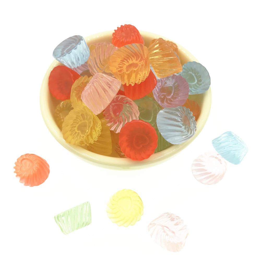 10 unids/lote transparente falso jalea plana cabujón resina miniatura redondo caramelo resina cabujones bricolaje accesorios de la joyería de 10*15mm