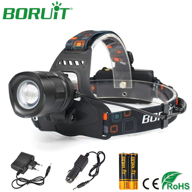 boruit rj 5000 xml t6 r2 headlight 4 mode headlamp power bank head torch hunting camping flashlight 18650 battery light BORUiT Zoomable L2 LED Headlamp Flashlight Portable Rechargeable Headlight Waterproof Camping Hunting Head Torch Light 18650