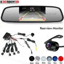 Koorinwoo Parktronic Dual Core Auto Parkplatz Sensor 4 Sonde Reverse Backup Radars Rückansicht Kamera 4,3 Spiegel Monitor Auto- detektor