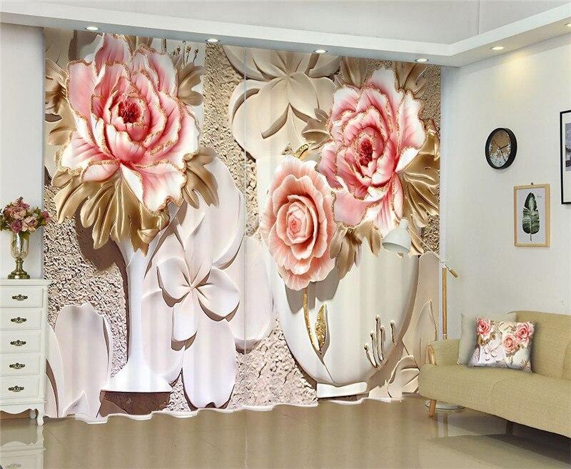 Cortina de puerta china, Cortina de ventana de lujo Blackout 3D, Cortina de ventana para sala de estar, cortinas de Cortina de flores para boda, Funda personalizada Rideaux