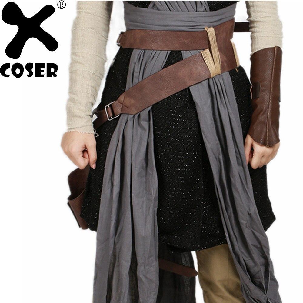 Xcoser episódio viii o último jedi rey brown pu cintos de couro falso cosplay adereços traje de halloween acessório cós