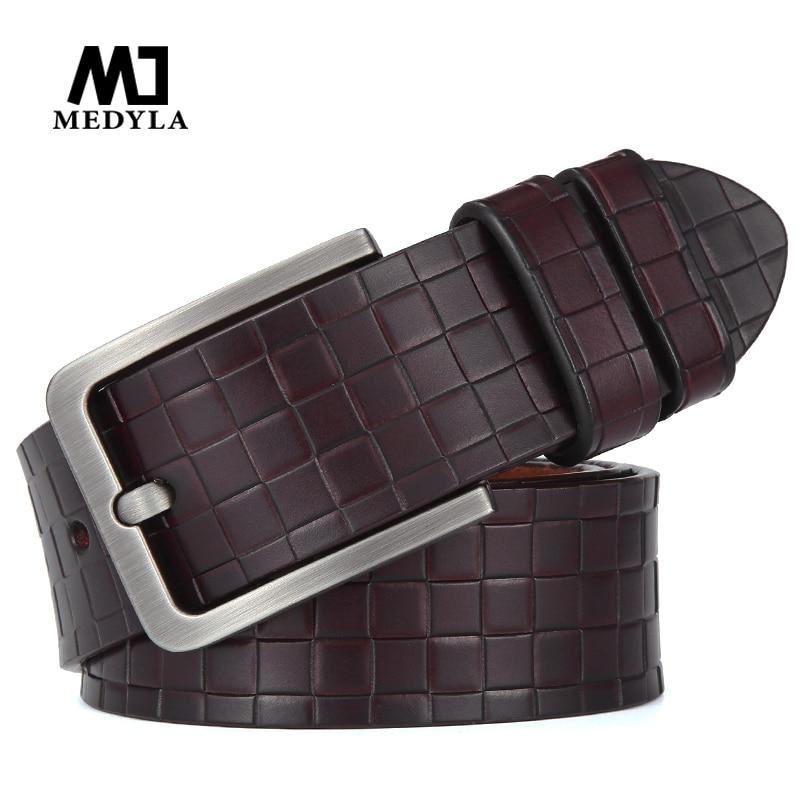 MEDYLA Fashion checkered men's belt quality natural cowhide no interlayer belt for men Casual business brand belt MD15 Dropship
