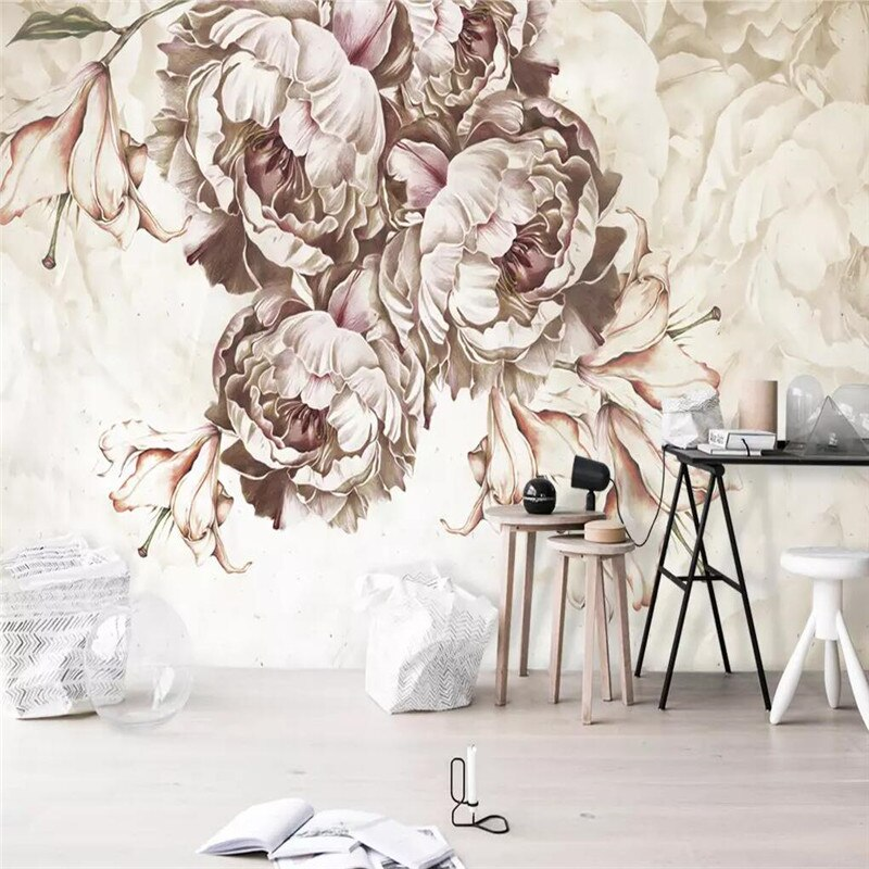 Hand-painted rose flower flowers background wall professional production wallpaper murals custom poster photo wall professional 10x20ft hand painted column arch scenic muslin photo backdrop background customized service size photos