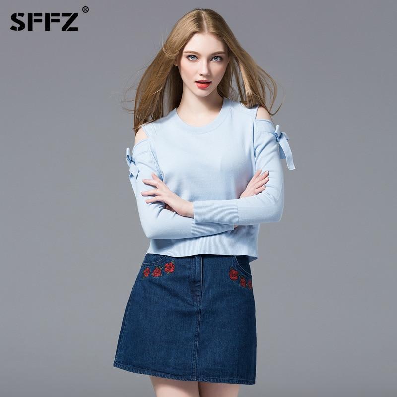 SFFZ azul cielo Jersey de punto de las mujeres, suéter de bulbo/foco hombro mariposa lazo Casual de manga larga Jerséis de mujer algodón simple Tops