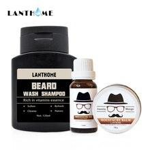 Kits de lavado y acondicionador de barba Lanthome para hombres, aceite orgánico de barba, bálsamo para bigote, cera hidratante, suavizante, cuidado de barba para caballero