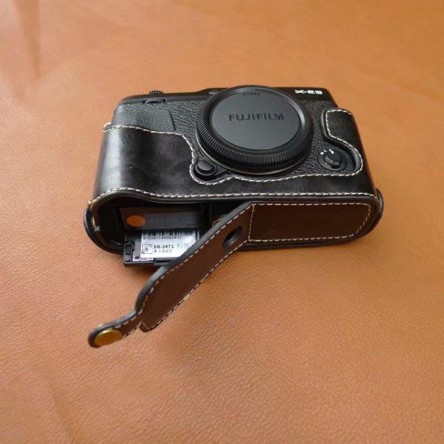 Case de Couro do Plutônio Metade do Corpo Base para Fujifilm Inferior Abertura Versão Protetora Capa X-e3 Xe3 Câmera Digital