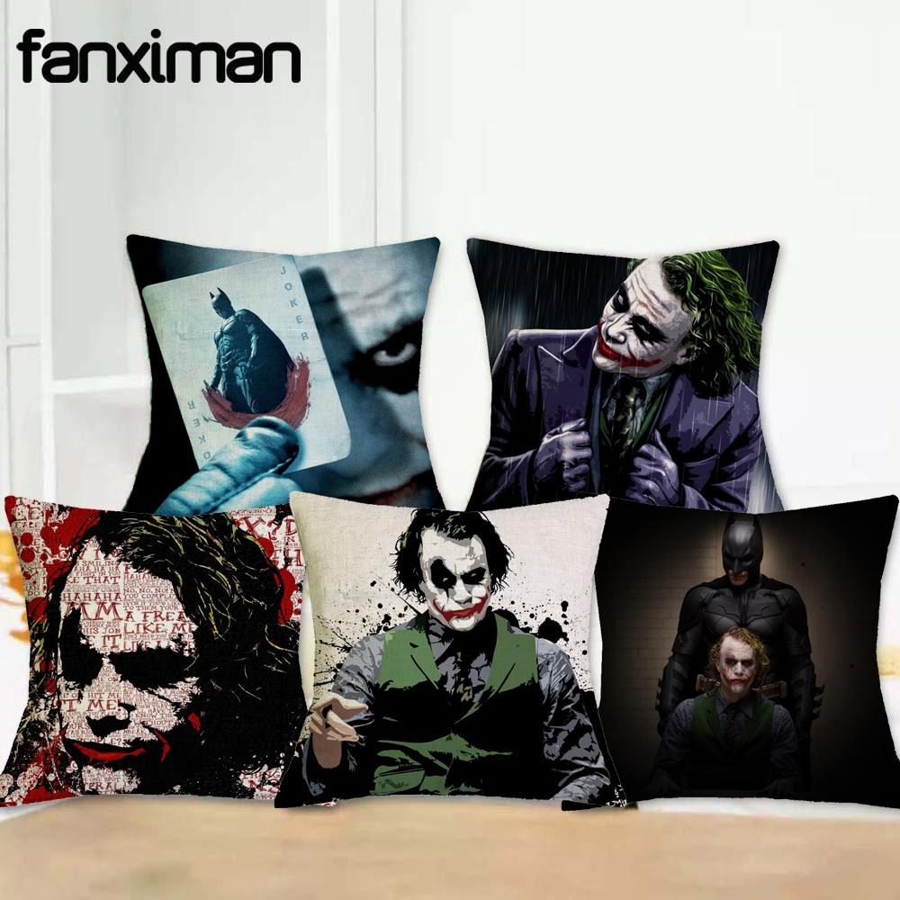 Funda de cojín de personajes de Fanximan Dark Knight, funda de cojín para el hogar de Joker-Batman, funda decorativa para sofá o asiento de coche