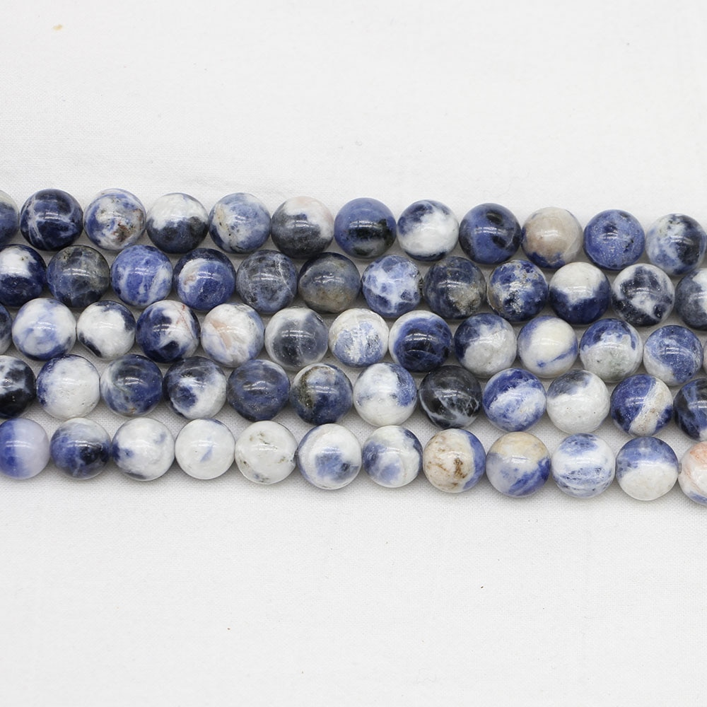 Cuenta de piedra Natural de 4/6/8/10/12mm, nuevas venas azules, cuentas de sodalita redondas, cuentas espaciadoras sueltas para hacer joyas, hallazgos, pulsera DIY