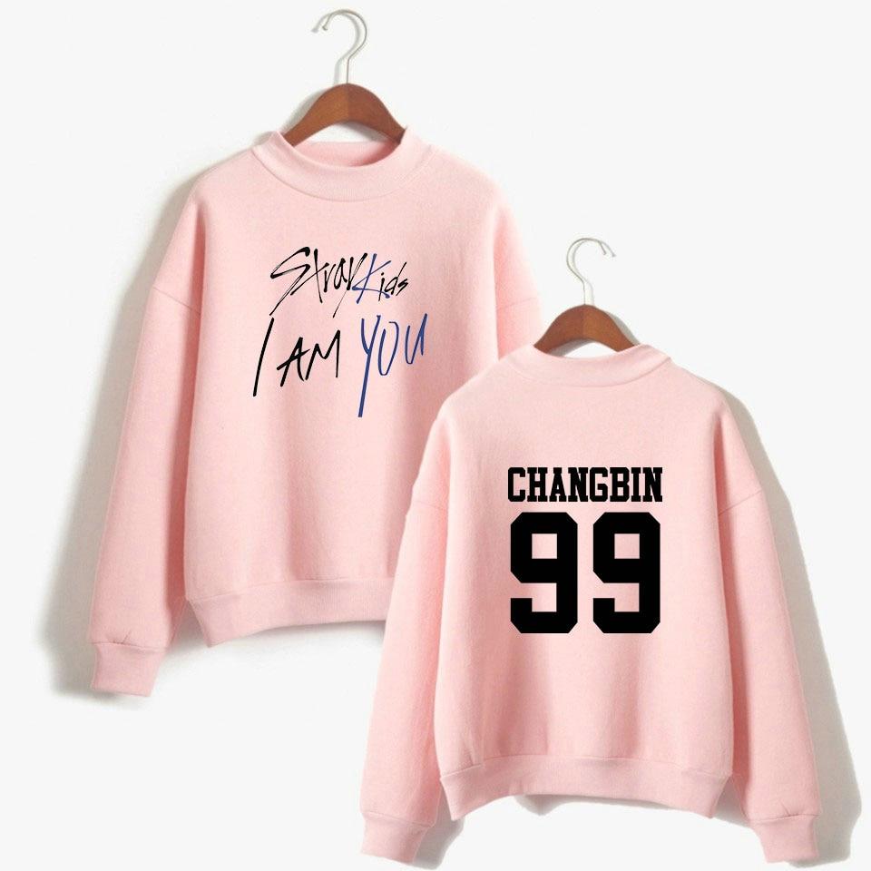 WEJNXIN Kpop Stray Kids Member Name Hoodies Women Straykids I Am Who Sweatshirt Long Sleeve Loose Pullover Fleece Tracksuit
