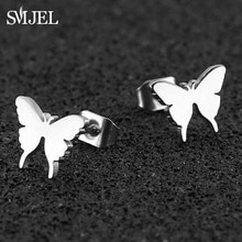 SMJEL Stainless Steel Butterfly Earrings Studs Jewelry Lovely Women Earings Animal Child Frosted But