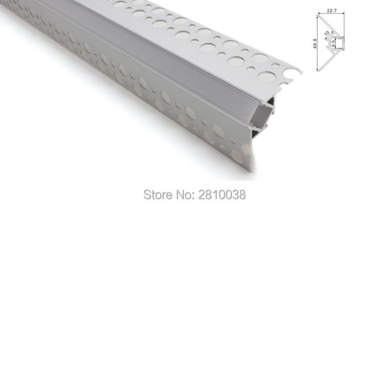 Juego de 100X2 M/lote de arandela de pared, difusor de tira de luz led, Canal Grande V, carcasa led de perfil de aluminio para lámpara de esquina de pared exterior