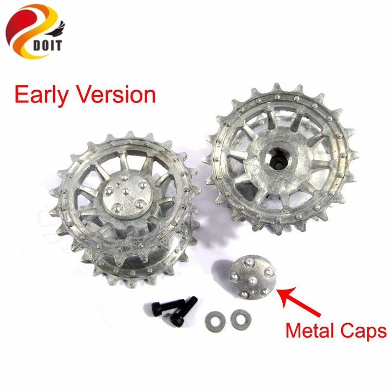 Metal Silver Tracks sprockets early with metal caps idler wheels with bearings for Heng Long 3818 1 16 RC Tiger 1 tank enlarge