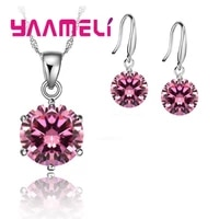 weddingbride 925 silver jewelry womensgirls clear cz chain necklace earrings wedding jewelry sets gifts 8 color
