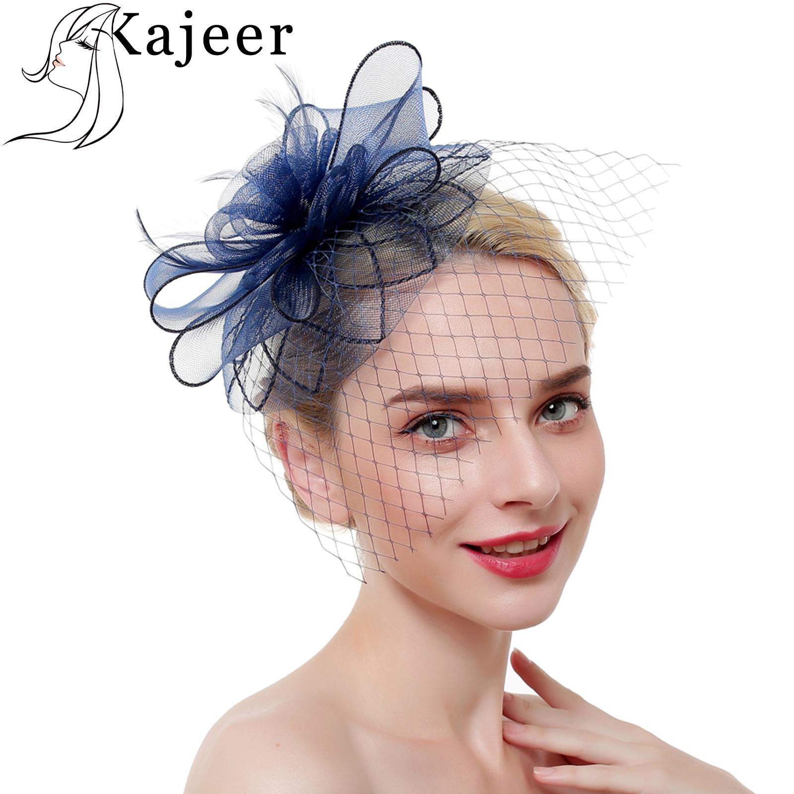 Kajeer Redes de Novo Estilo Mulheres Pena Hairwear Fascinator Chapéus Cavalo de Corrida Chapéus Festival Fechaduras de Cabelo Noiva Acessórios Para o Cabelo