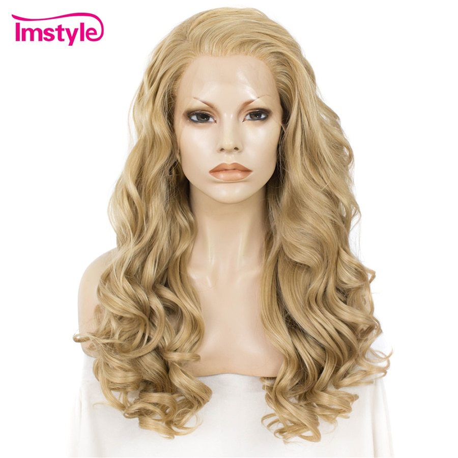 Peluca rubia Imstyle, peluca con malla frontal, Peluca de pelo sintético, pelucas largo ondulado para mujeres, peluca de fibra resistente al calor sin pegamento para uso diario de 24 pulgadas