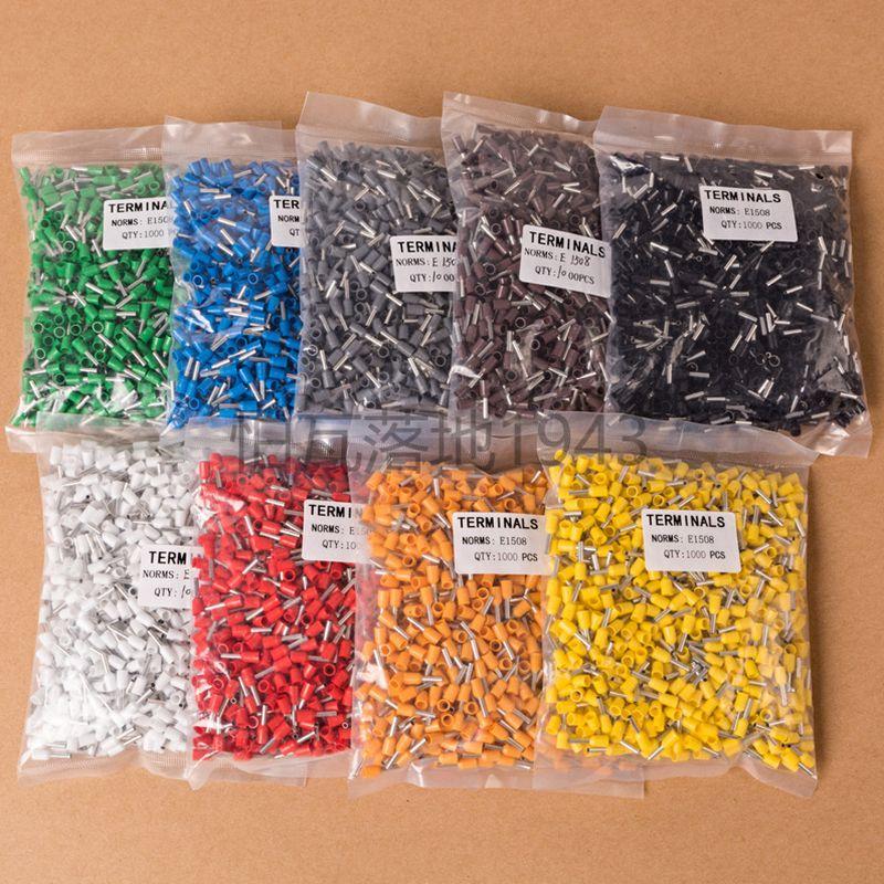 100 шт./лот E1508 Bootlace Cooper набор наконечников провода медный обжимной соединитель изолированный шнур Концевая клемма 5 цветов VE1508