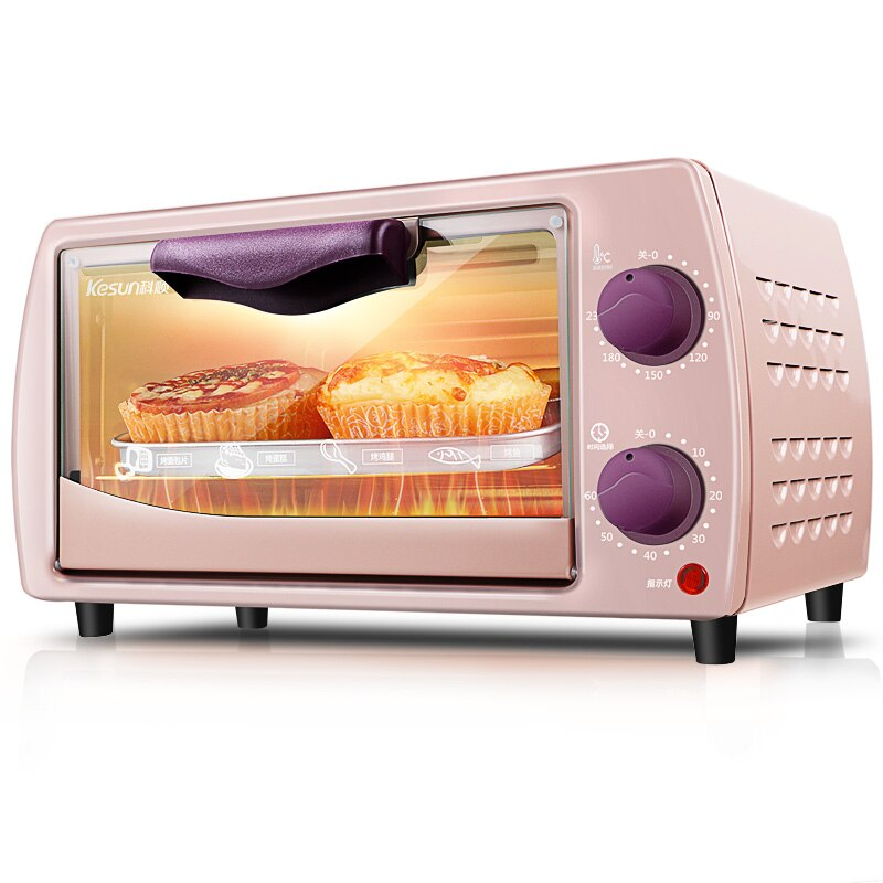 ZA14 3C horno eléctrico rosa/Negro MINI horno temporizador 2 capas torta fabricantes reflujo horno 800W con 2 tubos de calentamiento de acero inoxidable 9L