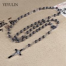 High Grade Hematite Stone Rosary Beads Necklace With Jesus Cross Long Pendant Charms Prayer Catholic Jewelry